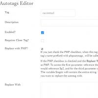 Autotags plugin 管理画面